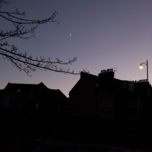 Crescent moon over St Andrews